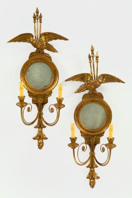 346: George V Giltwood and Wrought-Iron 2-Light Sconces