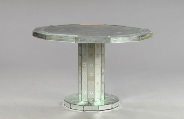651: Continental Mirrored Glass Pedestal Dining Table