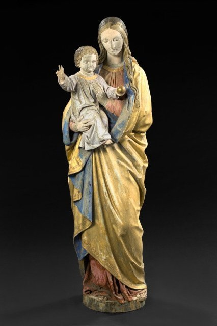 776: Continental Carved, Polychromed and Wood Figure