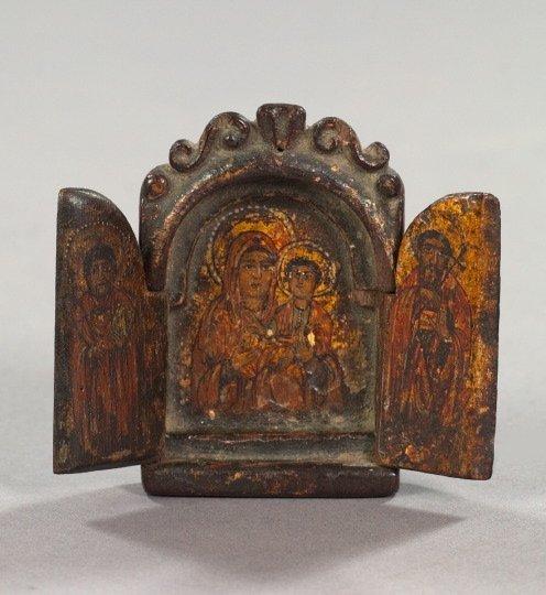 781: Greek Orthodox Miniature Polychromed Triptych