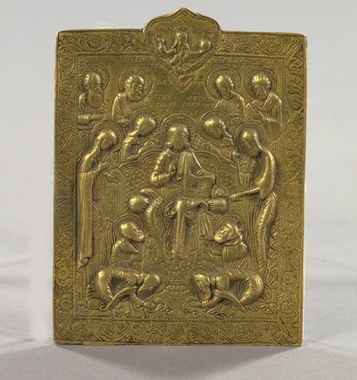 """782: Russian Cast and Engraved Brass """"Deesis"""" Ikon"""
