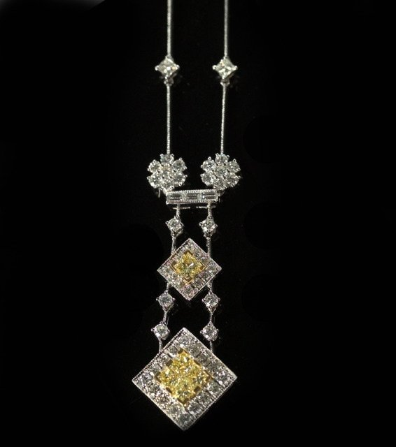 793: Platinum and Canary and White Diamond Necklace
