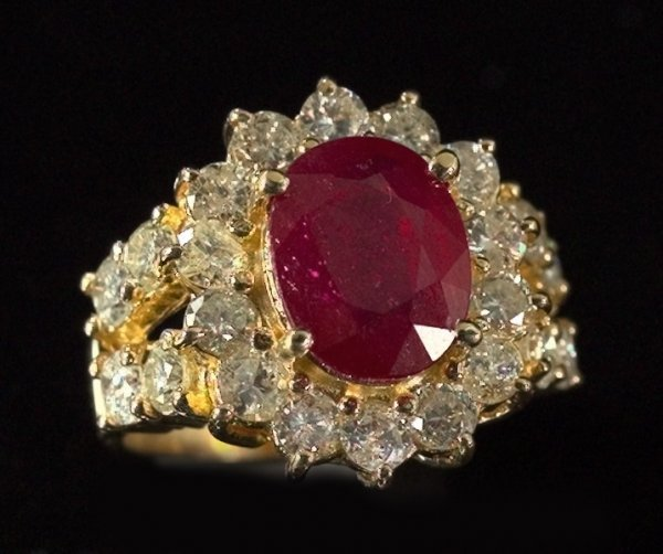 796: Yellow Gold, Ruby and Diamond Dinner Ring
