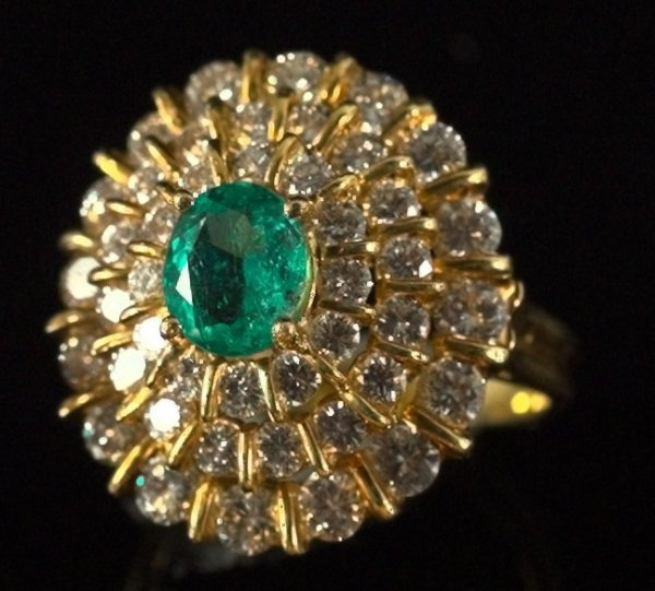 797: Yellow Gold, Emerald and Diamond Triple-Tier Ring