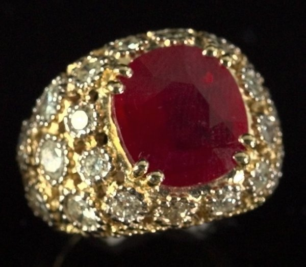 798: Yellow Gold, Ruby and Diamond Dinner Ring
