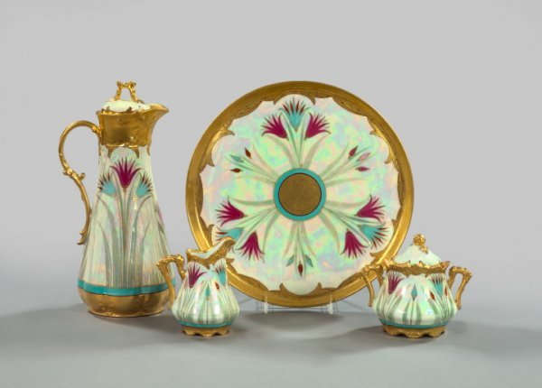 """1218: Pickard Hand-Painted Porcelain in """"Papyrus"""" Decor"""