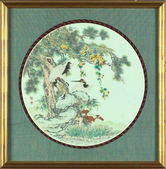 1329: Good Chinese Enameled Porcelain Circular Plaque