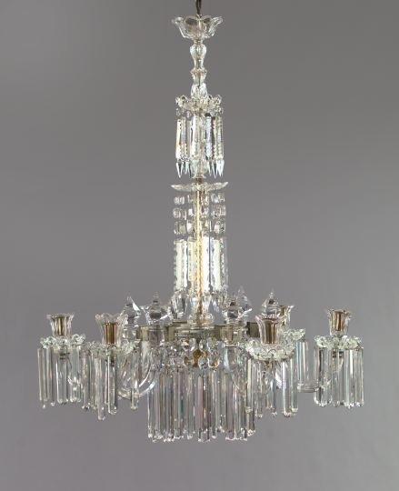 15: Good Edwardian Cut Glass Tiered Chandelier