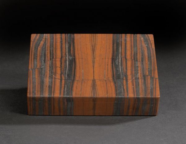 20: Unusual European Intarsia Stone Table Box,