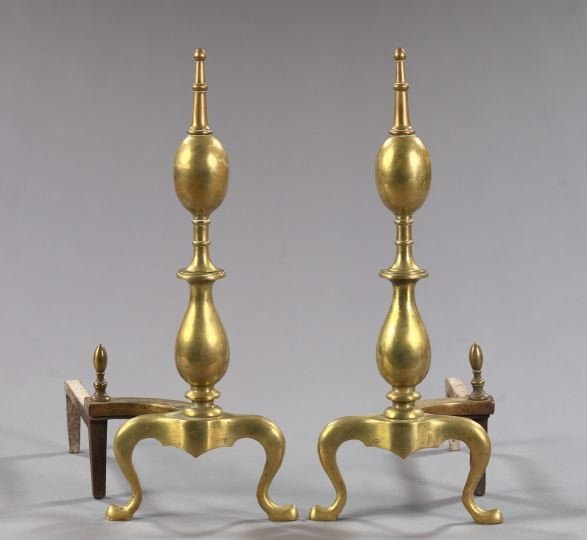 21: Anglo-American Gilt-Brass and Wrought-Iron Andirons