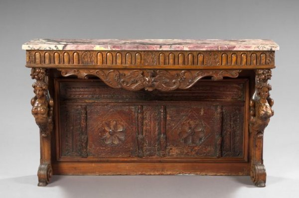 441: Italian Carved Walnut and Marble-Top Side Table