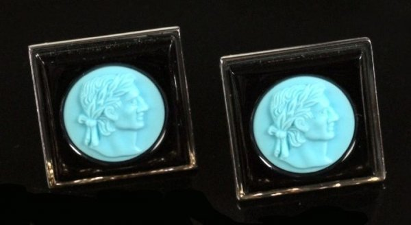 708: Pair of Onyx and Turquoise Intaglio Cufflinks