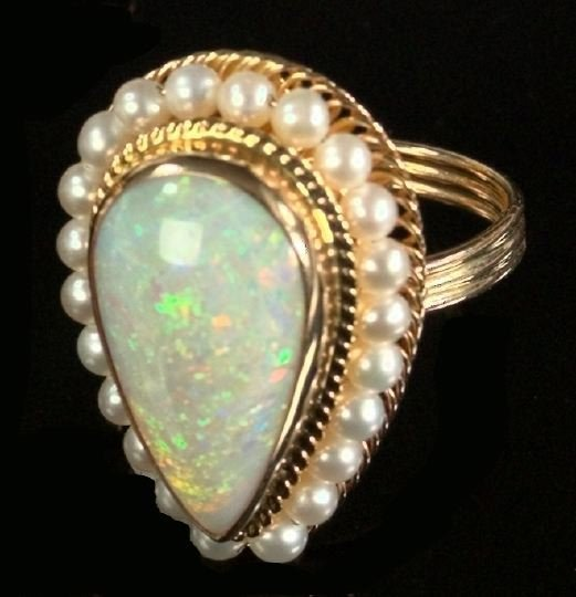 712: Yellow Gold, Opal and Pearl Dinner Ring
