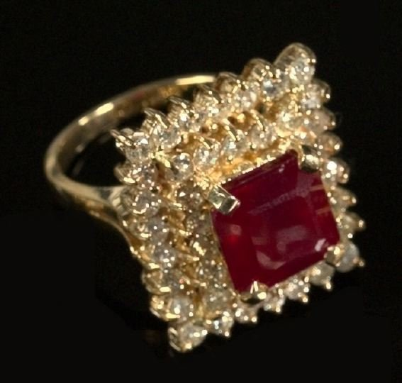 718: Yellow Gold, Ruby and Diamond Dinner Ring