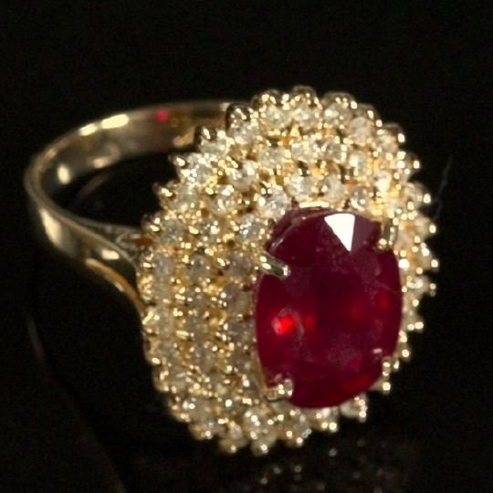 719: Yellow Gold, Ruby and Diamond Dinner Ring