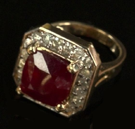 720: Yellow Gold, Ruby and Diamond Dinner Ring