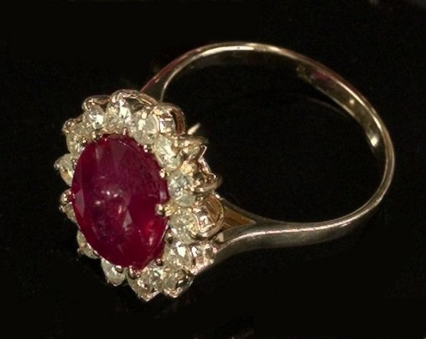 721: Yellow Gold, Ruby and Diamond Dinner Ring