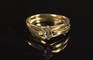 724: Yellow Gold and Diamond Engagement Set