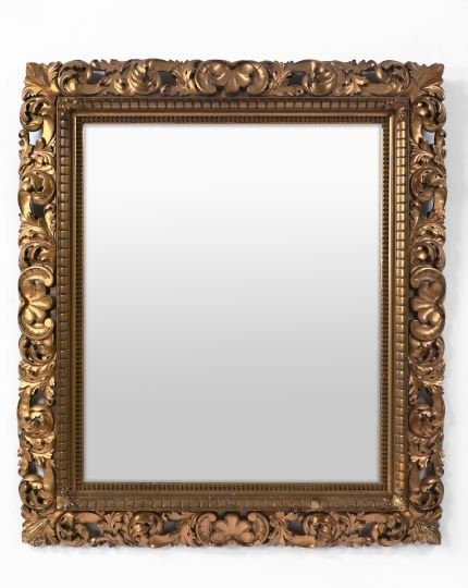 5: Large Italian Carved Giltwood Rectangular Mirror