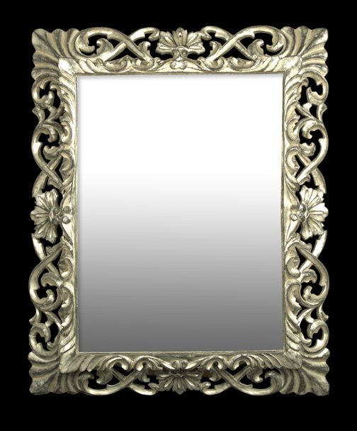 7: Italian Carved and Silvered Wood Mirror