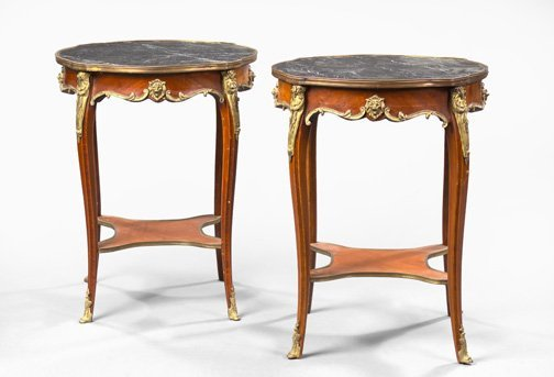 11: French Mahogany and Marble-Top Side Tables