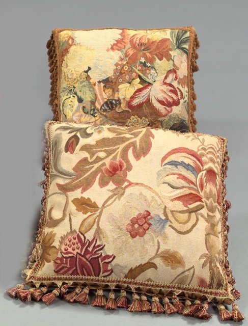 14: Two Aubusson Tapestry-Faced Pillows,