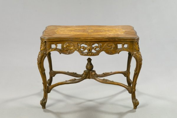 16: Louis XV-Style Mixed Woods Coffee Table
