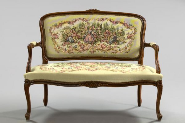 18: Louis XV-Style Fruitwood Settee,
