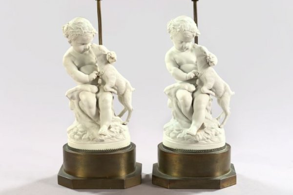 19: French Biscuit Porcelain Figures