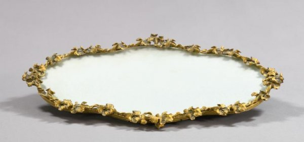 21: Continental Gilt-Brass and Glass Table Plateau