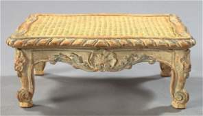 28: French Carved Beechwood and Cane Footstool