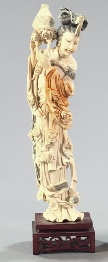95: Chinese Carved and Tinted Tusk Ivory Figure