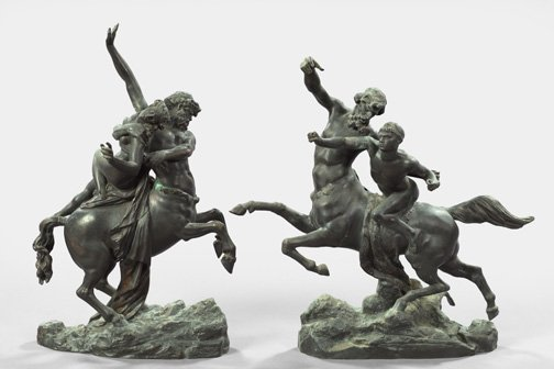 560: French Black-Patinated Bronze Centaur Groups