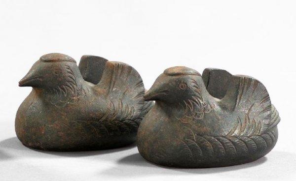 615: Japanese Edo Cast-Iron Scroll Weights