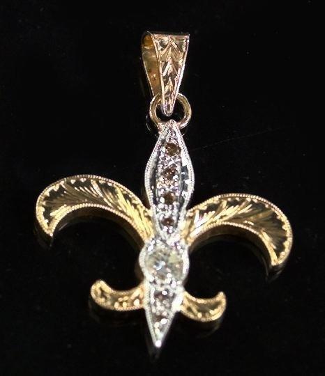 821: Gold and Diamond Fleur-de-Lys Engraved Pendant