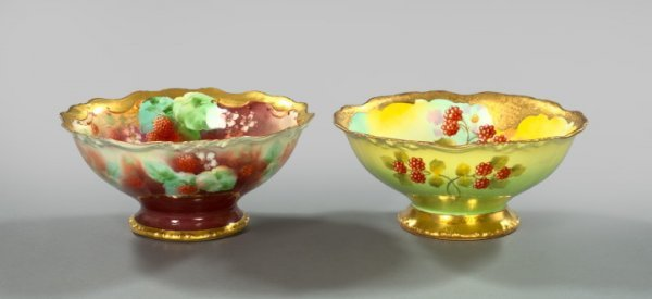 1361: Two French Hand-Painted Porcelain Bowls,
