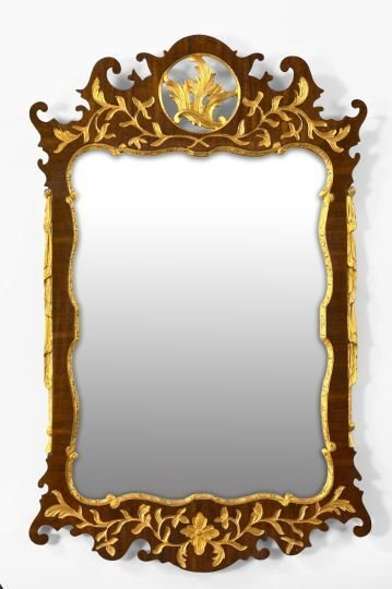 1: Edwardian Carved and Parcel-Gilt Mahogany Mirror