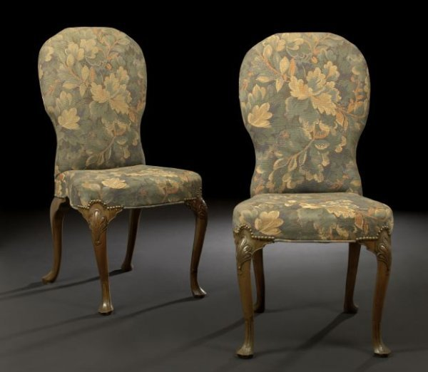 3: Pair of George II-Style Walnut Sidechairs,