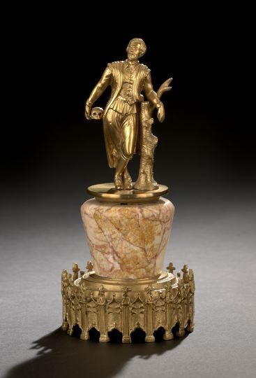 12: Continental Gilt-Bronze and Marble Cabinet Figure