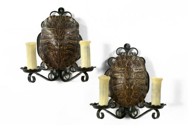 14: Wrought-Iron and Turtle Carapace Two-Light Sconces