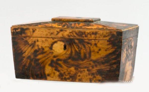 16: Regency Tortoiseshell-Painted Maple Tea Caddy