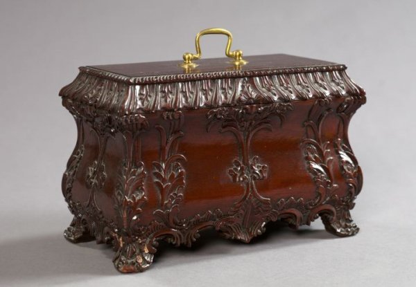 19: English Mahogany Footed Jewel Casket