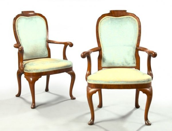 24: Pair of Queen Anne-Style Mahogany Armchairs,