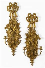 470: Gilded Wrought-Iron Three-Light Appliques