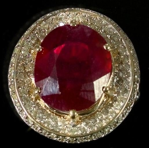 774: Yellow Gold, Ruby and Diamond Dinner Ring