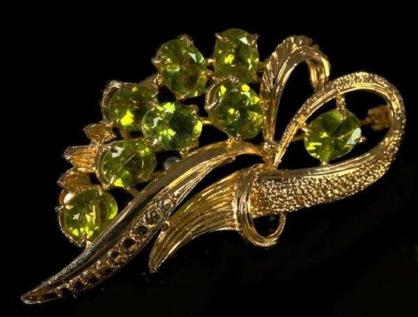 795: Fourteen-Karat Gold-Filled Peridot Brooch,