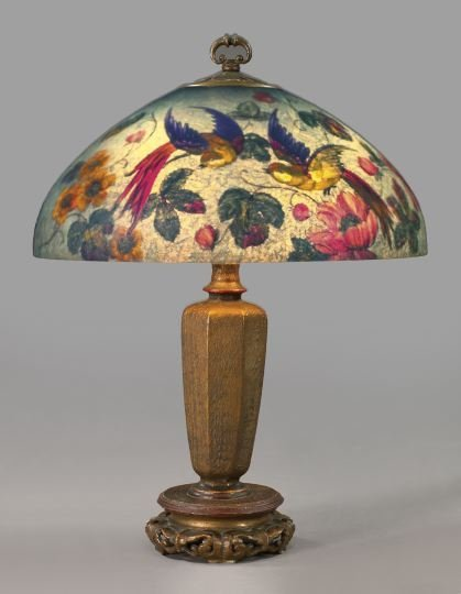 957: Handel Spelter and Brass Paneled Parlor Lamp