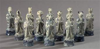 1350: Kuang Hsu Porcelain Zodiac Animals,