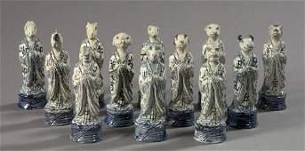 1350: Kuang Hsu Porcelain Zodiac Animals,