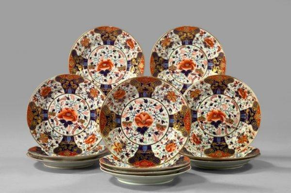 """6: Crown Derby """"Old Imari"""" Porcelain Dessert Plates"""
